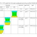 برنامه امتحانات تابستانی ۱۳۹۹